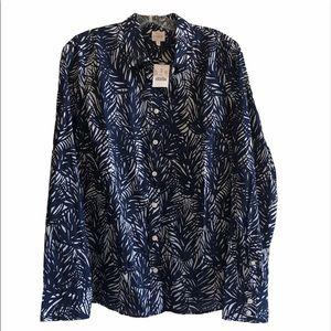 🎉HOSTPICK🎉J. Crew Perfect Shirt- Palm Leaf Print